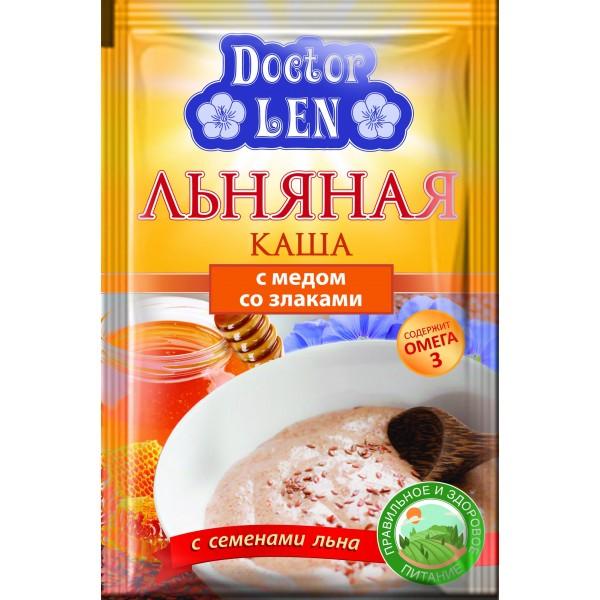 """Льняная каша """"Доктор лен"""" со злаками и мёдом пак. 35 гр."""