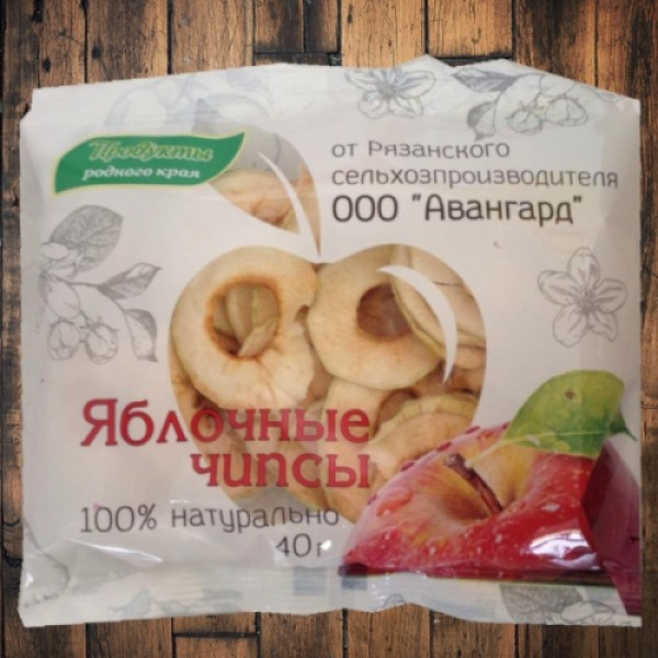 """Яблочные чипсы """"Авангард"""" г.Рязань 40 гр"""
