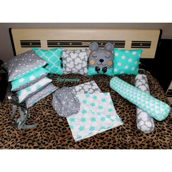 Бортики в детскую кроватку 12 подушек