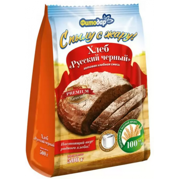 ХЛЕБ РУССКИЙ ЧЕРНЫЙ хлебная смесь Фитодар 500гр.