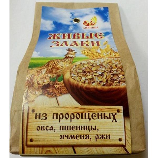 Хлопья 4 злака пророщенные 300 гр (овес, пшеница, ячмень, рожь)