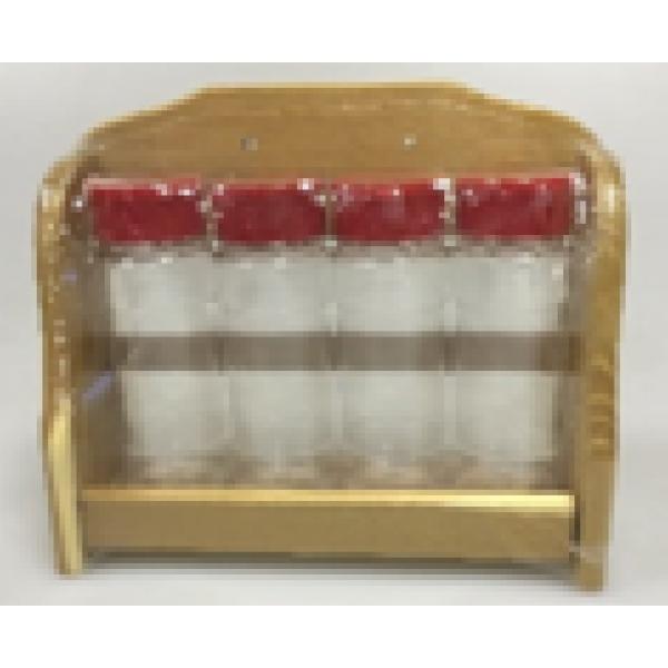 Набор из 4-х баночек для специй «Гурман» на светлой полке